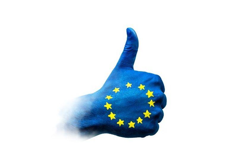 šaka u bojama zastave Europske unije s palcem gore